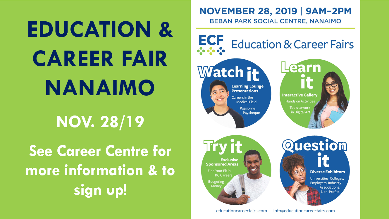 EDUCATION & CAREER FAIR - Thurs. NOV. 28/19