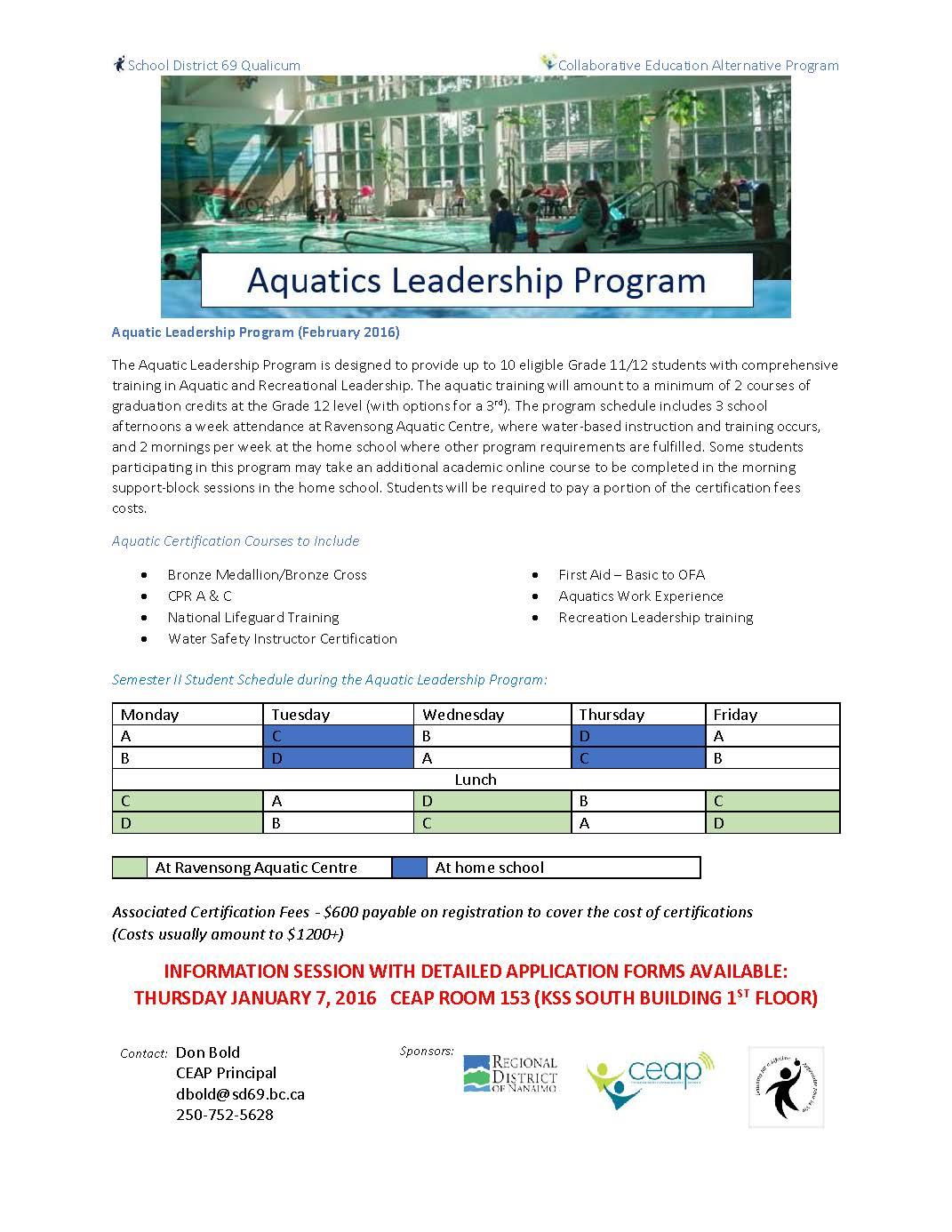 Aquatics leadership program collaborative education alternative aquatic leadership program 15 16 info sheetg xflitez Image collections